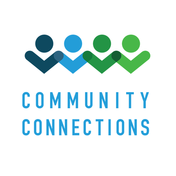 Blue and green Community Connections Kansas logo